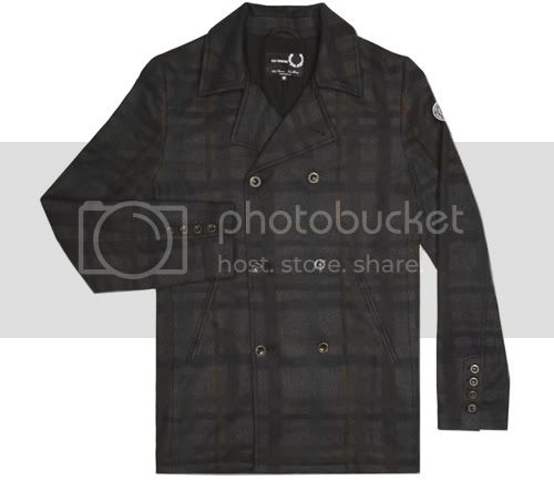 Raf Simons x Fred Perry Shadow Checked Pea Coat