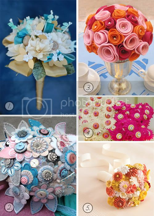 flower,wedding,bouquet,felt,embroidery,ribbon,crepe paper,roses,daisies,buttons